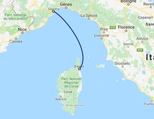 Carte Ferry Corse Italie.Traversees Ferry Savone Bastia Corsica Ferries